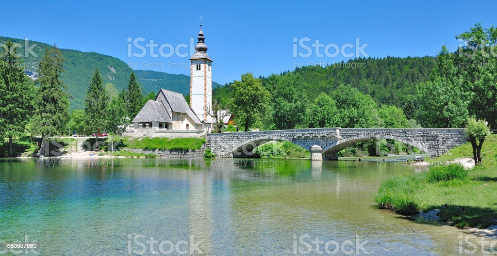 Sveti Janez Church at Lake Bohinj,Slovenia stock photo