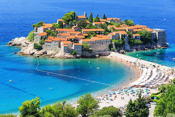 sveti stefan, montenegro - serbia stock photos and pictures
