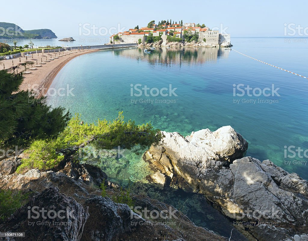 Sveti Stefan sea islet morning view (Montenegro) royalty-free stock photo