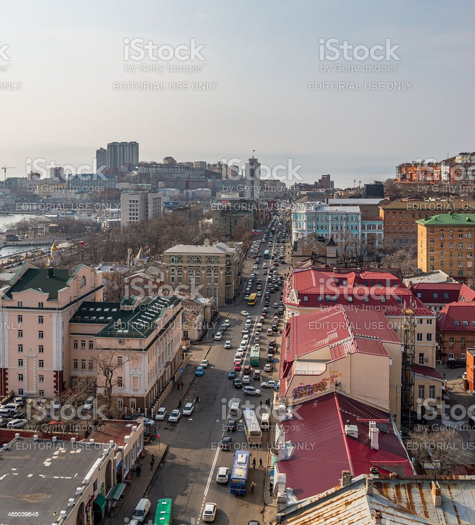 Svetlanskaya street view. stock photo