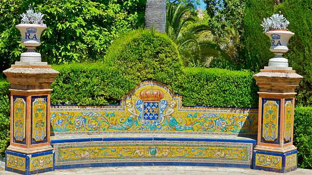 Séville, Banc, palacio de'Alcazar - foto de stock