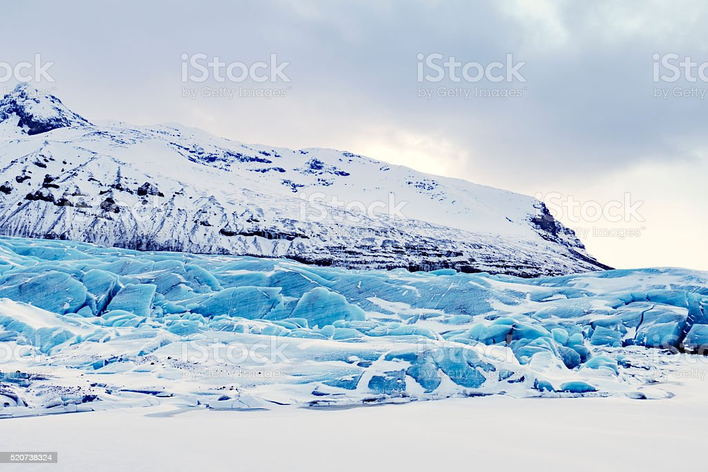 Svinafellsjokull, a glacier in Skaftafell National Park,Iceland stock photo