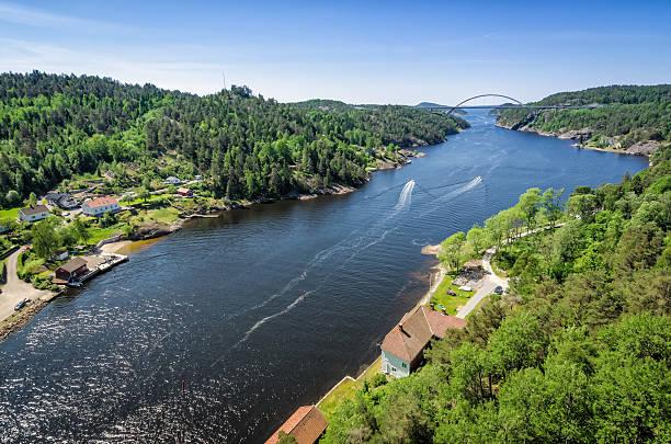 Svinesund fjord with new bridge stock photo