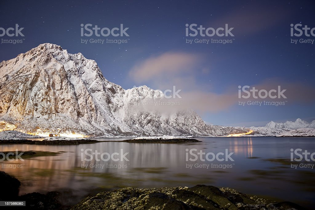Svolvaer at night. royalty-free stock photo