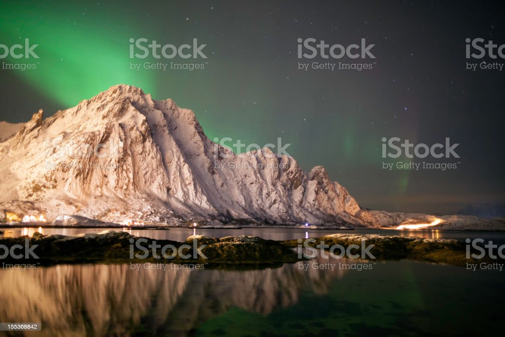 Svolvaer Aurora Borealis stock photo
