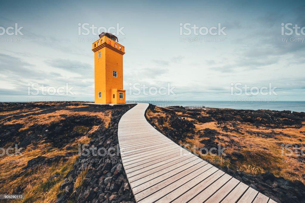 Svortuloft Lighthouse In Iceland stock photo