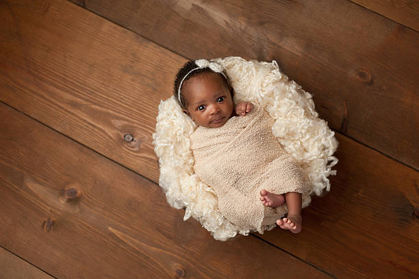 Swaddled Newborn Baby Girl An alert one month old newborn baby girl wearing a cream colored bow headband. She is swaddled with a beige stretch wrap and looking directly into the camera. Shot in the studio on a wood background. baby blanket stock pictures, royalty-free photos & images
