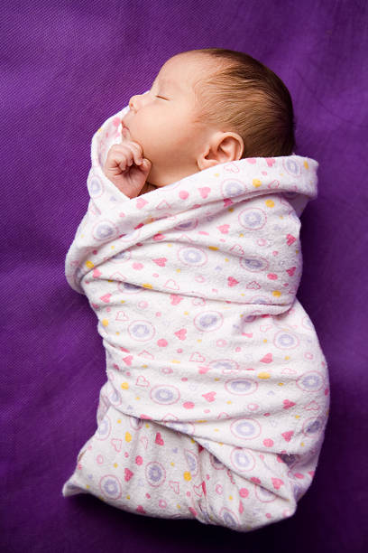 swaddled newborn - full length image stock photo