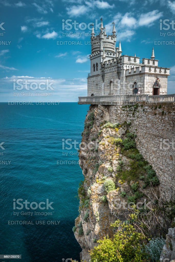 Swallow's Nest castle on the rock in Crimea stock photo