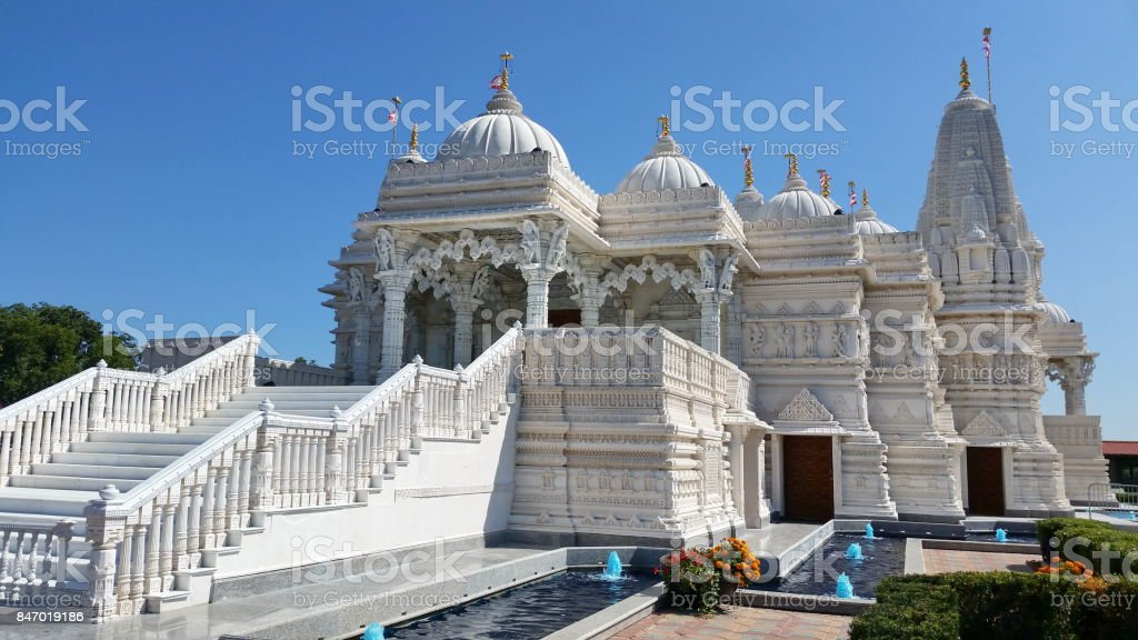 BAPS Swaminarayan Temple stock photo