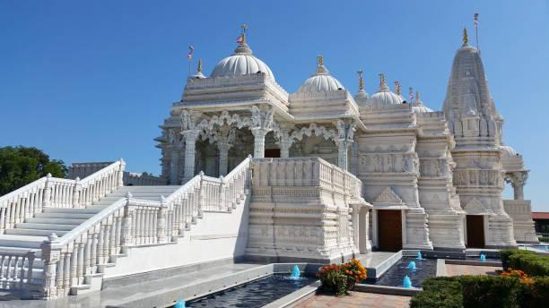 baps swaminarayan temple - hinduism stock photos and pictures