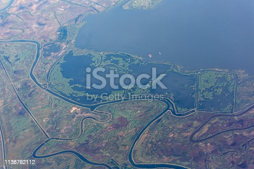 swamp and salt lake aerial view near sacramento california usa america