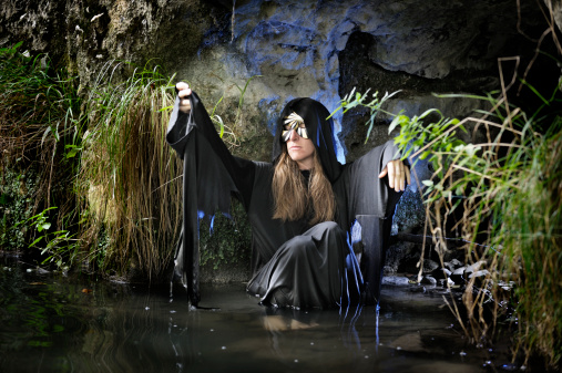 Swamp Hag In Magic Cave Stock Photo - Download Image Now
