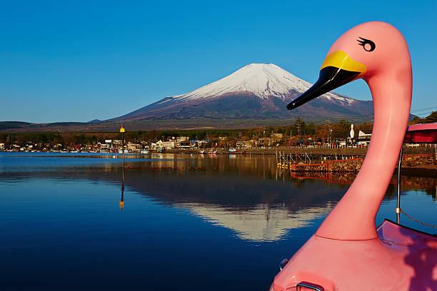 スワンボートや富士山 - yamanaka lake ストックフォトと画像