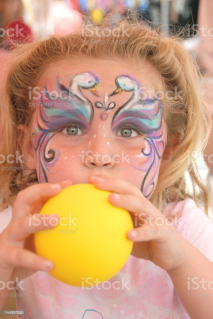 Swan Faced Girl with Balloon royalty-free stock photo