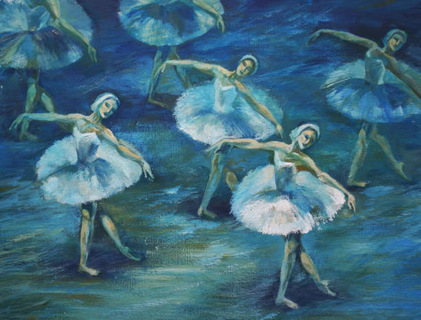 swan lake ballet painting acrylic and full spectrum on cardboard - impressionist painting stock photos and pictures