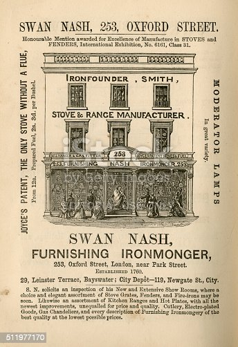 1070355804 istock photo Swan Nash, Furnishing Ironmonger - advertisement, 1865 511977170