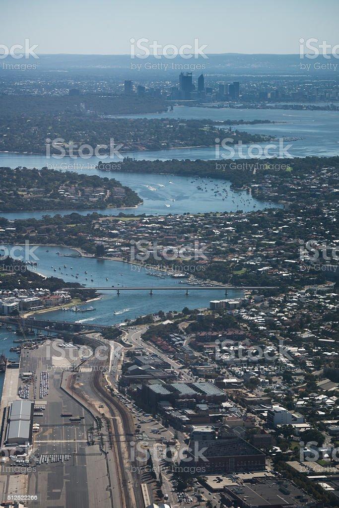 Swan River Leading to Perth WA stock photo