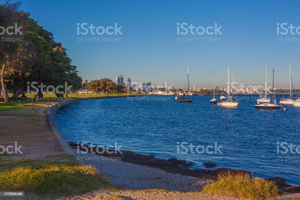 swan river with perth in background stock photo