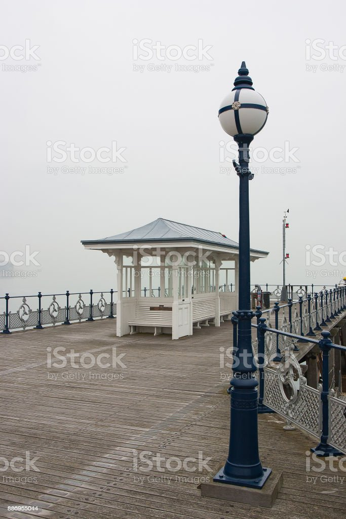 Swanage Pier in the mist stock photo