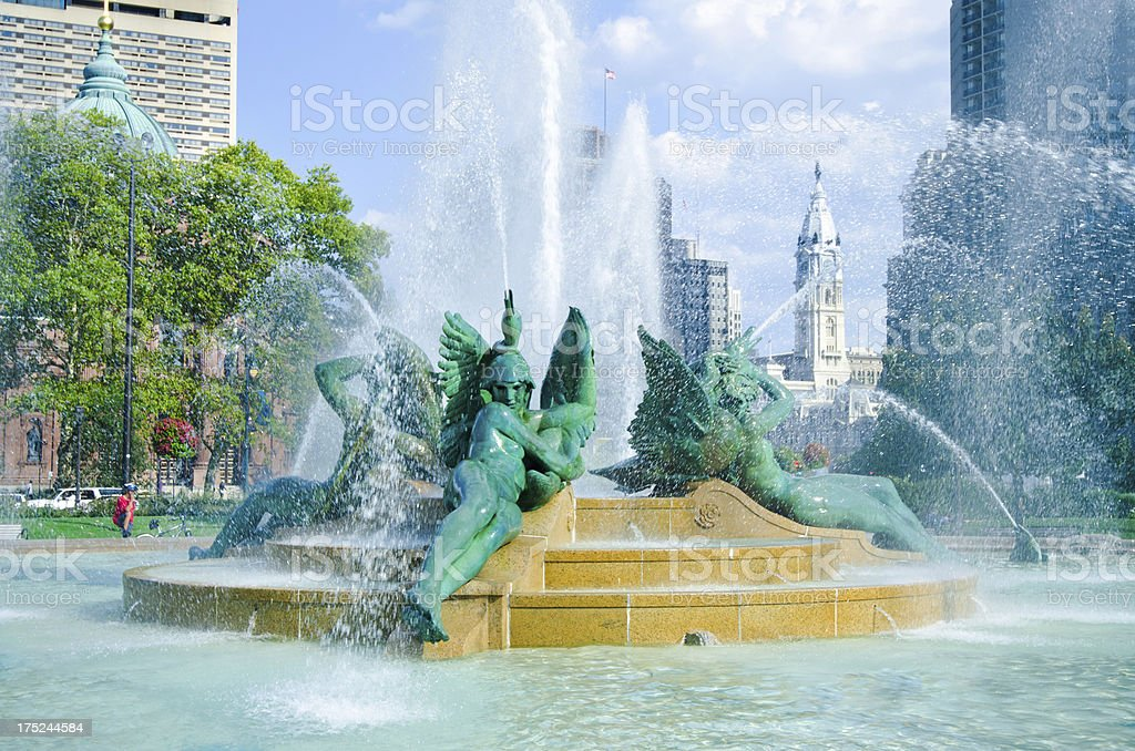 Swann Memorial Fountain at Logal Circle in Philadelphia, PA royalty-free stock photo