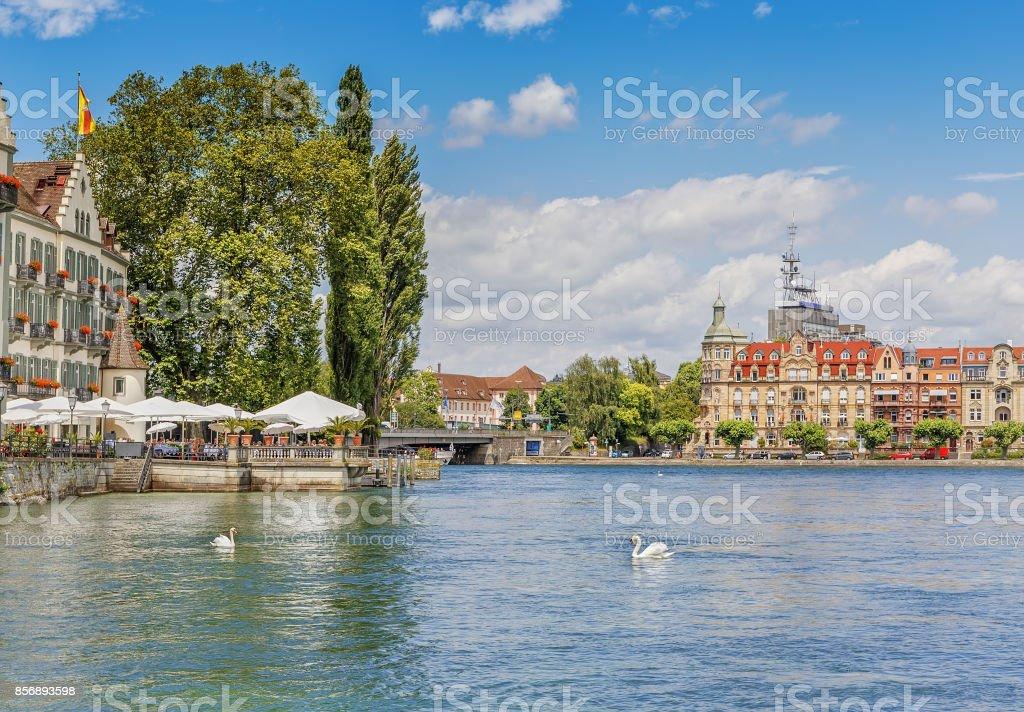 Schwäne auf den Bodensee in der deutschen Stadt von Konstanze. – Foto