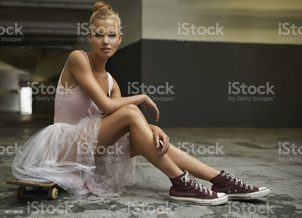 Swapping slippers for sneakers stock photo