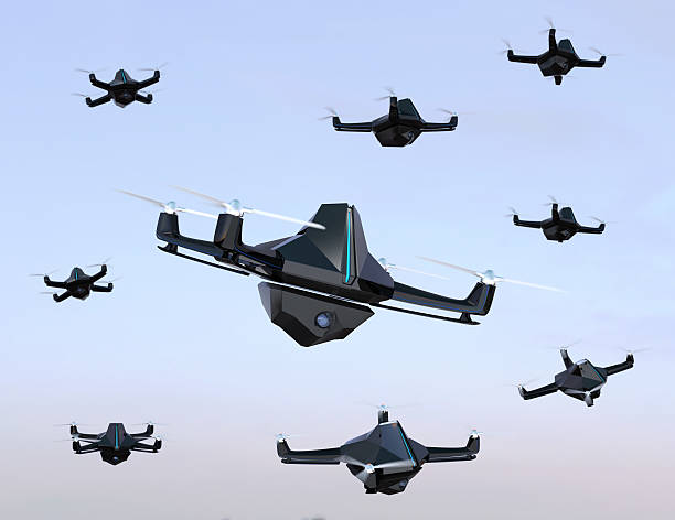 swarm of drones flying in the sky - swarm of insects stock photos and pictures