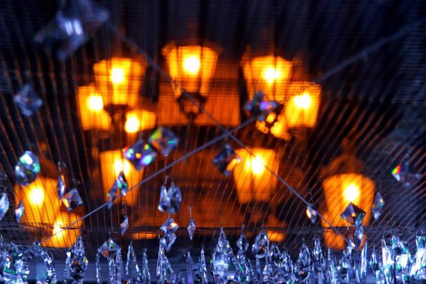 Swarovski stones, glitter shimmer, exhibition jewels, glare luxury, priceless beauty, treasures, lantern, lamps prague stock photo
