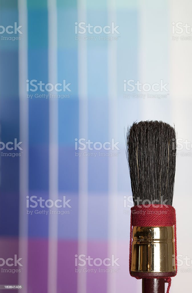 Swatchbook and brush. stock photo