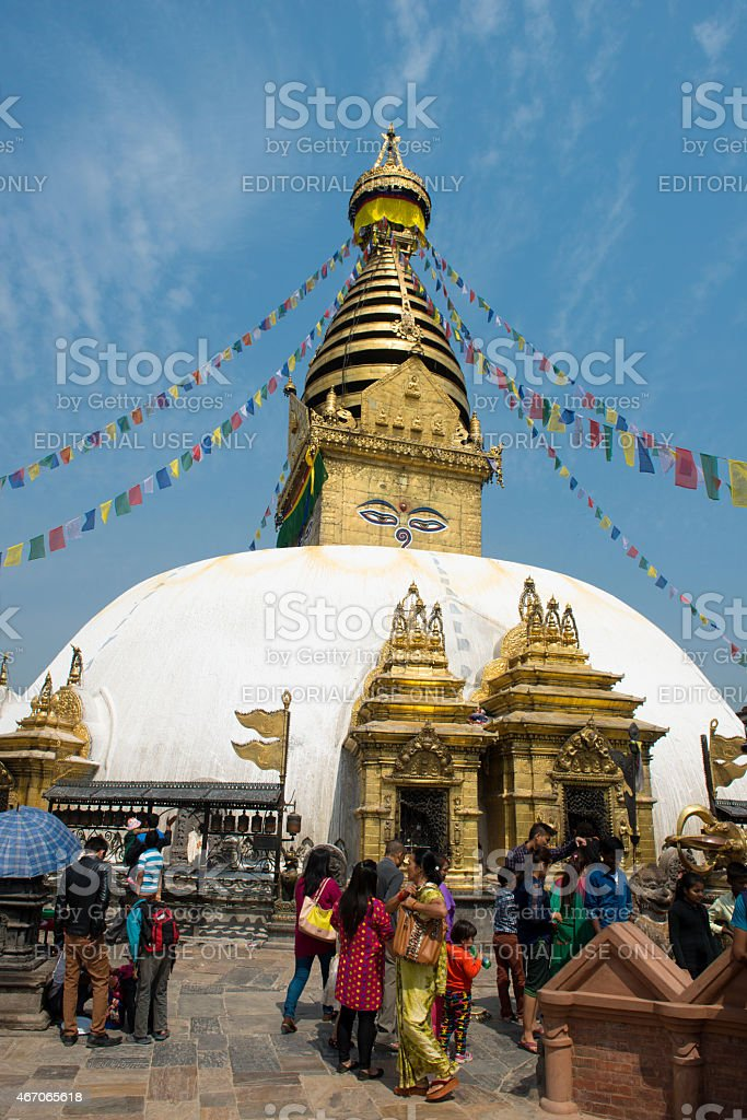 Swayambhu stupa in Swayambhunath religious complex in Kathmandu stock photo