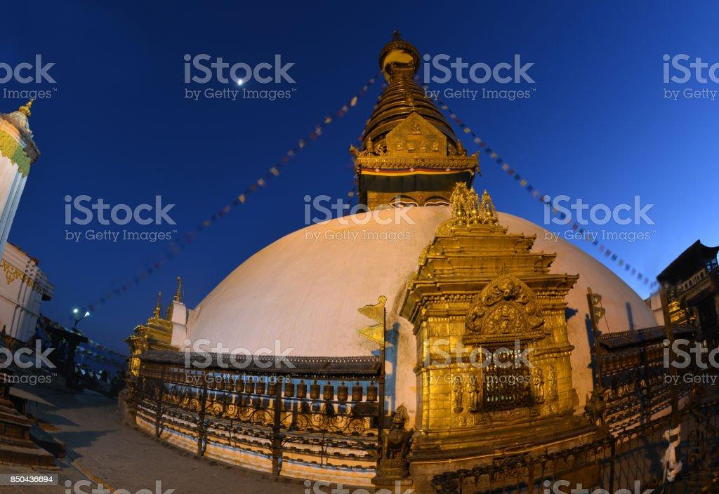 Swayambhu temple at night, Kathmandu, Nepal. stock photo