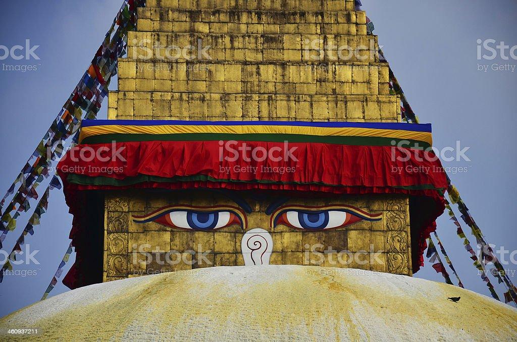 Swayambhunath and Boudhanath with Wisdom Eyes at Kathmandu Nepal stock photo
