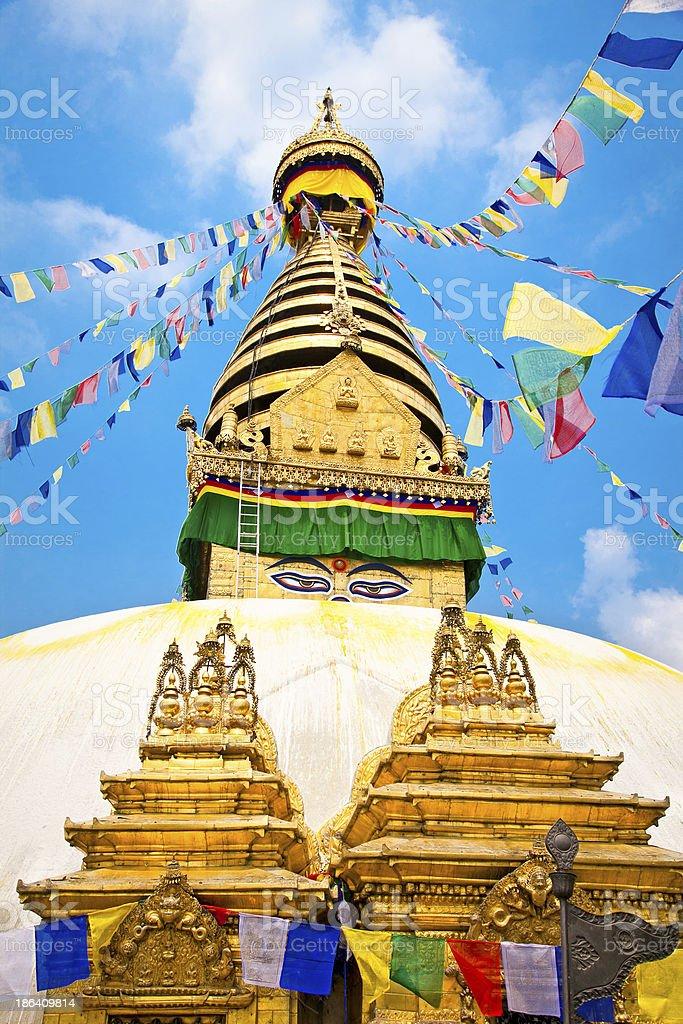 Swayambhunath  Monkey temple ,  Kathmandu, Nepal. stock photo