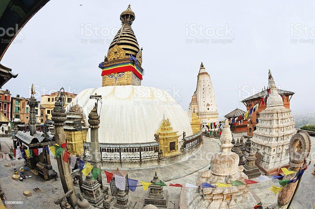 Swayambhunath (monkey temple) stupa on sunset Kathmandu, Nepal royalty-free stock photo