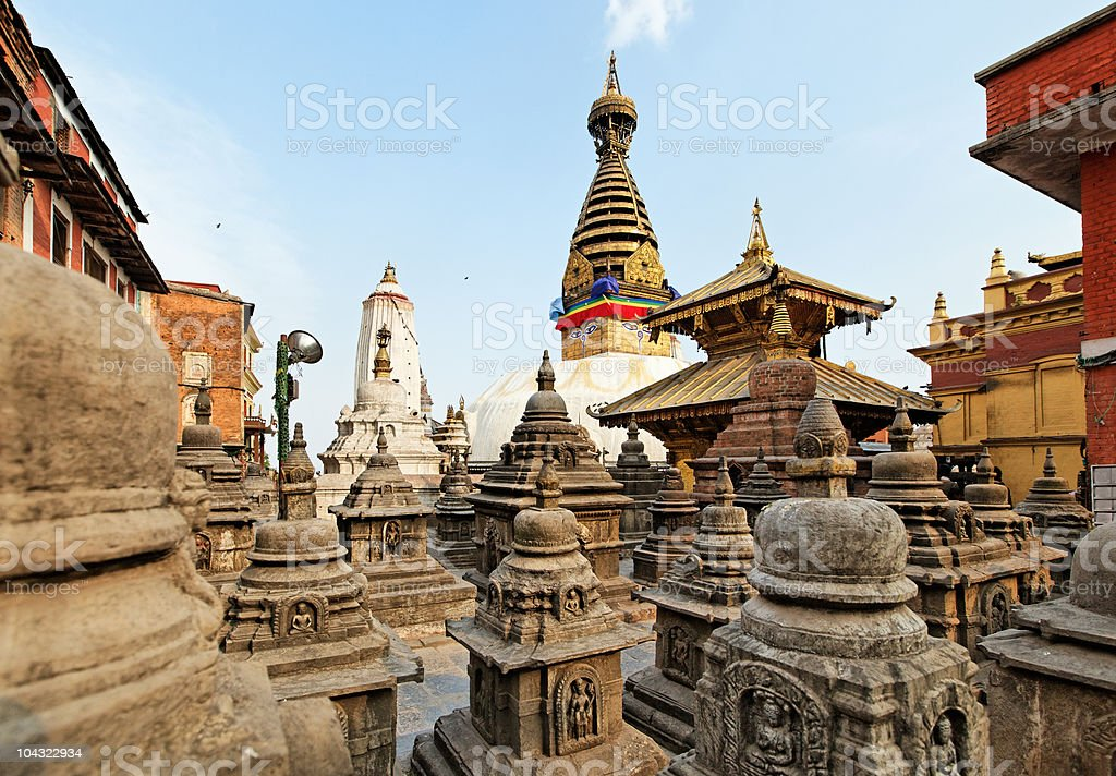Swayambhunath (monkey temple) stupa on sunset stock photo