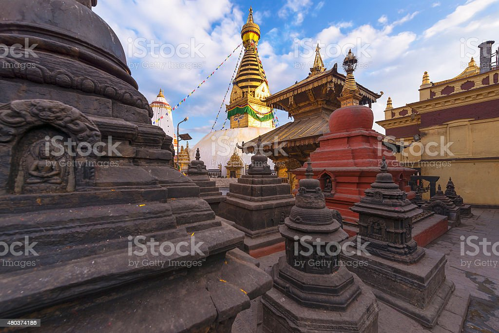 Swayambhunath Stupa taken in the capital of Nepal, Kathmandu stock photo