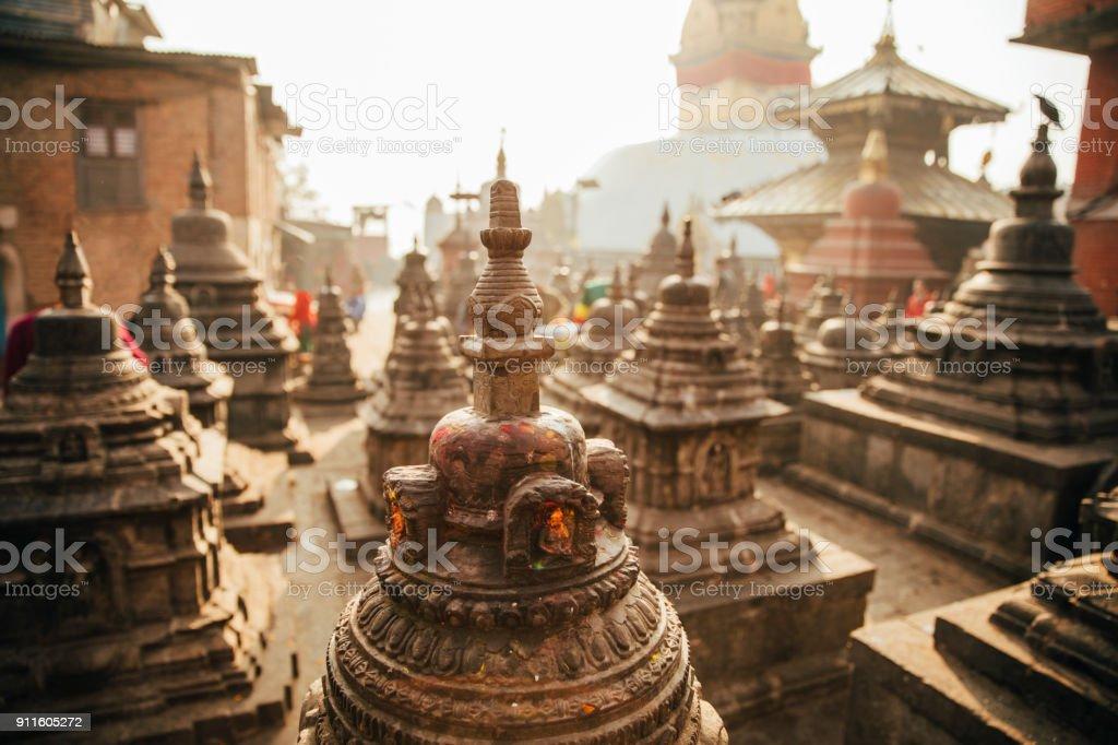 Swayambhunath temple at Kathmandu stock photo