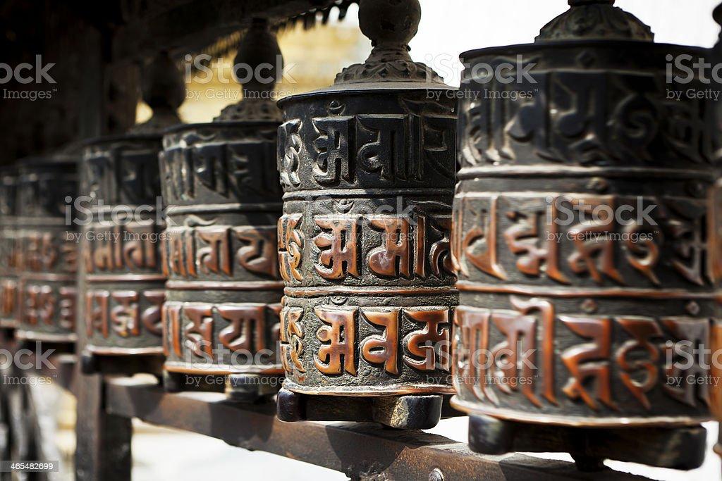 Swayambhunath temple bells in the Kathmandu valley stock photo
