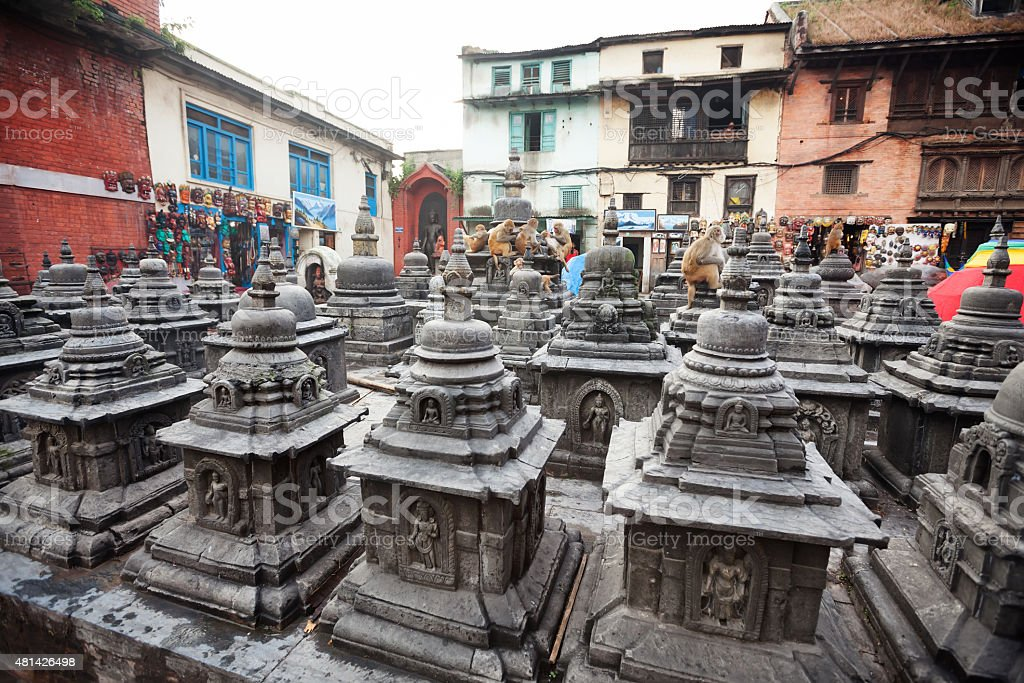 Swayambunath temple in Kathmandu, Nepal stock photo