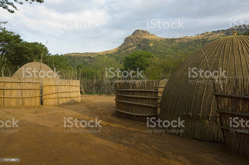 Swazi village stock photo