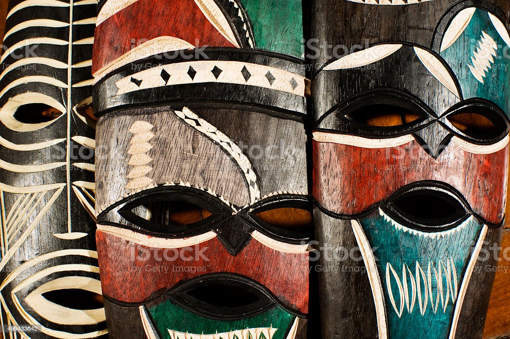 Swaziland traditional colorfull painted masks stock photo