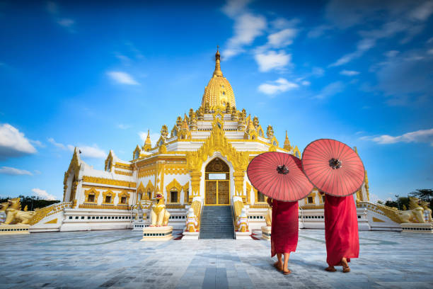 Swe taw myat buddha tooth relic pagoda stock photo
