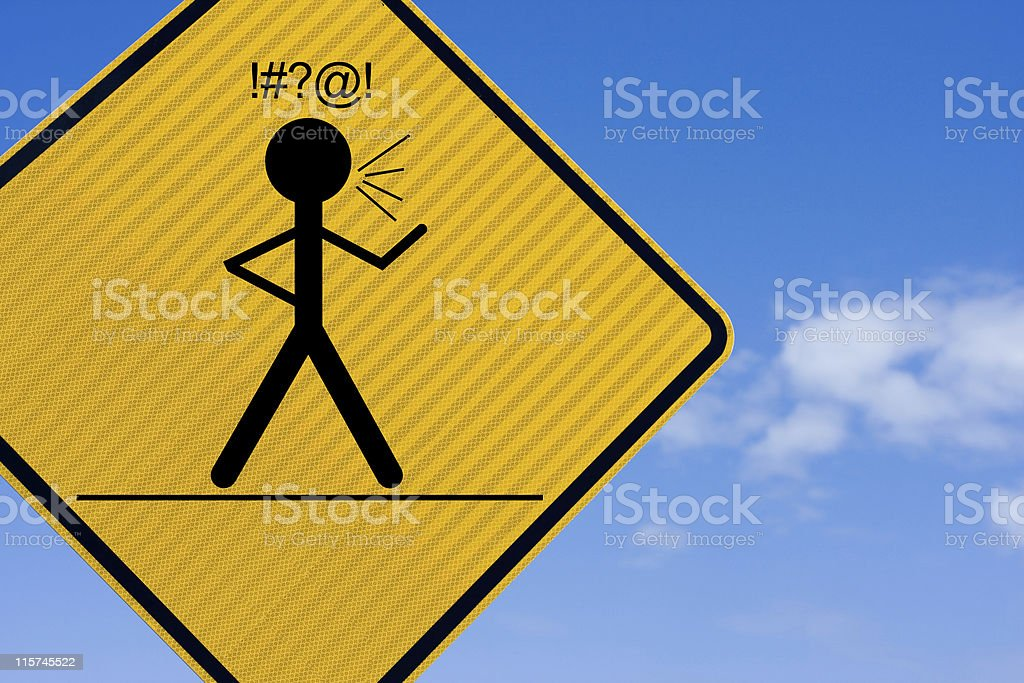 Swearing, Angry warning sign. stock photo