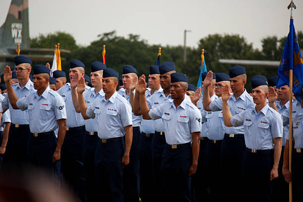 Swearing in at Air Force BMT Graduation Sept 11, 2015 stock photo
