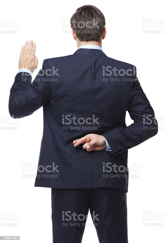 Swearing to not tell the truth stock photo