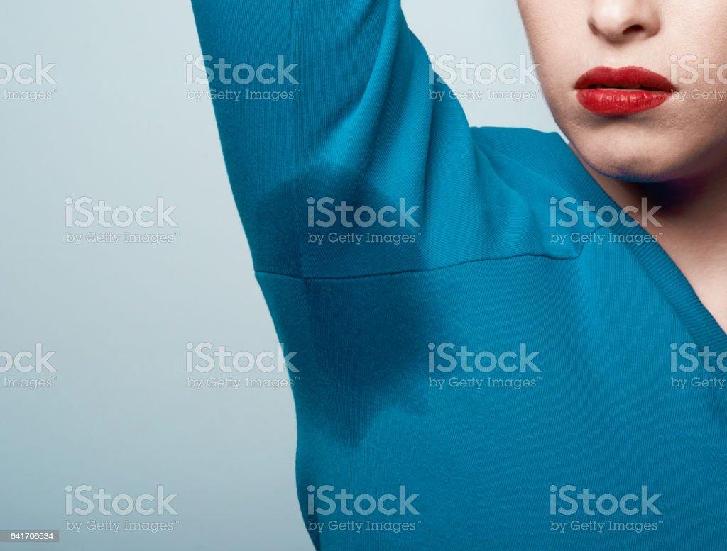 sweat marks on blouse stock photo
