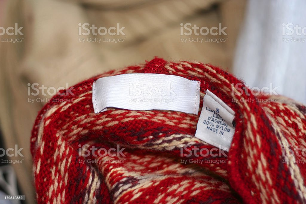 sweater clothing label tag royalty-free stock photo