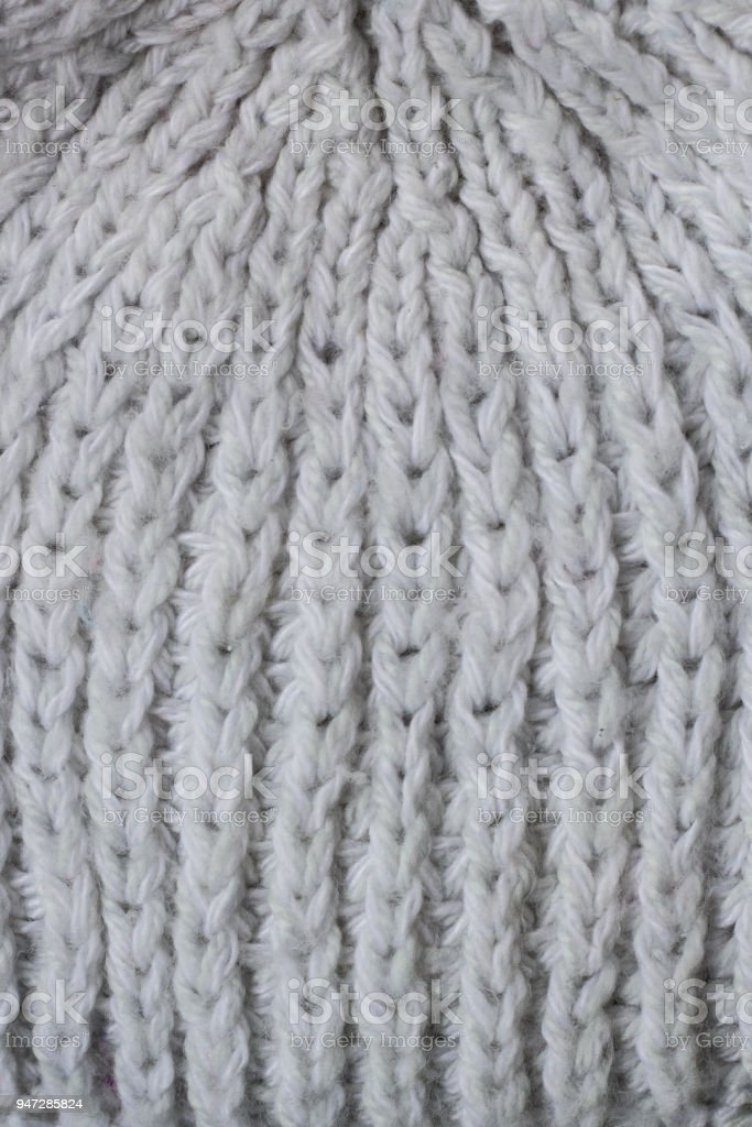 Sweater Or Scarf Pattern Of White Knitted Fabric Texture Background