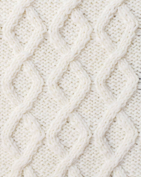 Sweater or scarf texture large knitting. Knitted jersey background with a relief pattern. Braids in knitting. Wool hand-knitted or machine knitting pattern. Fabric Background. stock photo